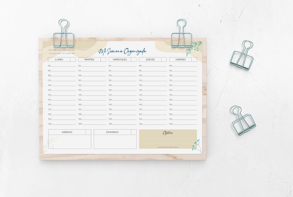 Planner Semanal perpetuo descargable imprimible